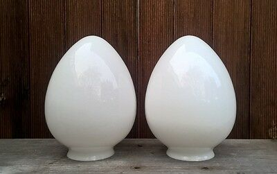 2 x Antique Art Deco Milk Glass Light Shade - Vintage Diana Table Lamp Cover