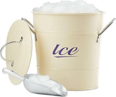 Andrew James Retro Cream Vintage Ice Bucket With Lid 3 Litre & Serving Scoop