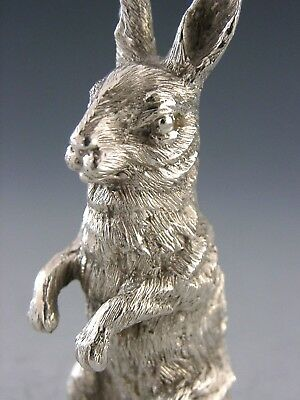 SUPERB GOOD SIZE ENGLISH STERLING SILVER MINIATURE HARE RABBIT 1977 HEAVY 95g