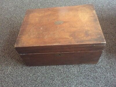Antique Wooden Writing Slope Box for Restoration ..No Keys.