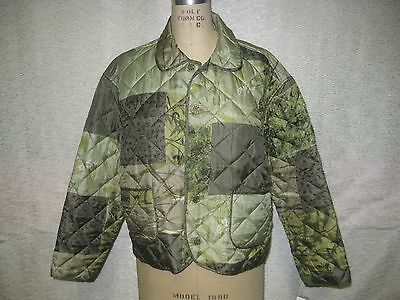 Oriental Inspired 100% Silk Reversible Quilted Type Jacket Green Tones Sz M Nwt