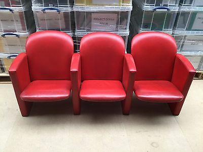 3x Poltrona Frau red leather CINEMA chairs with cat detail-(sold in groups of 3)