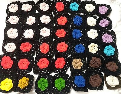 "42-6"" crocheted granny squares blocks for afghan w/ raised multi-colored flowers"