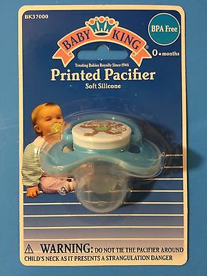 New BABY KING 0+ Soft Silicone Pacifier Blue with Monkey BPA FREE