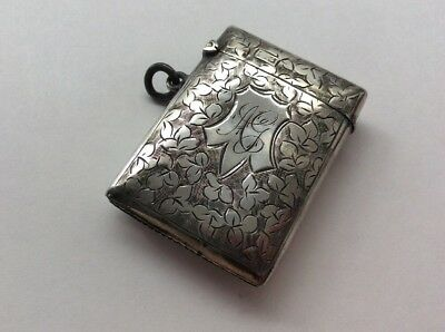 % Silver Vesta Case, Smith & Bartlam, Chester 1905, 'ag' %
