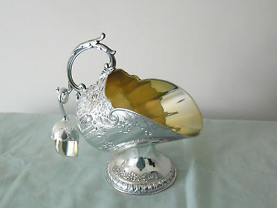 VINTAGE  SILVER SUGAR SCUTTLE with SCOOP