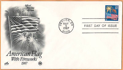 """US 1987 V.F. FDC The Postal Commemorative Society """"American Flag With Fireworks"""""""