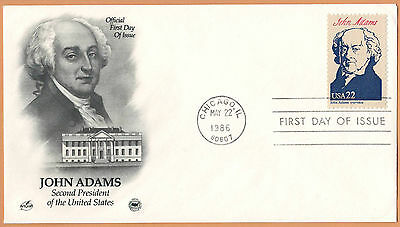 """US 1986 V.F. FDC The Postal Commemorative Society """" 2nd Presidend of the US """""""