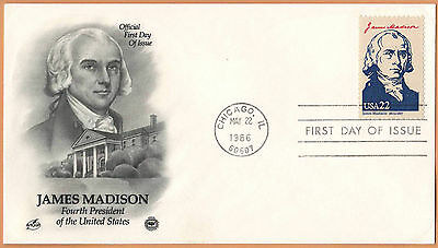 """US 1986 V.F. FDC The Postal Commemorative Society """" 4th Presidend of the US """""""
