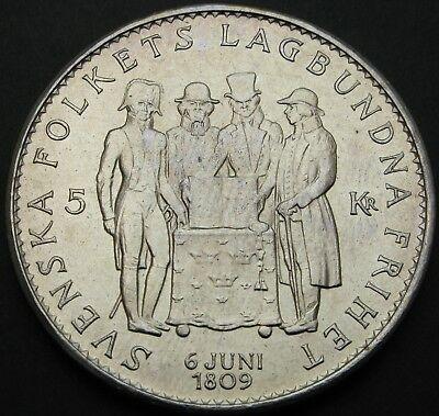 SWEDEN 5 Kronor 1959TS - Silver - Constitution of Sweden - aUNC - 1793 ¤