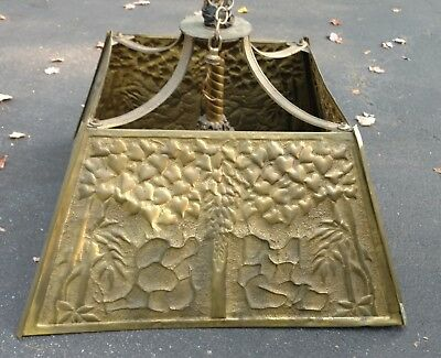 Exceptional Punched Brass - Arts and Crafts - Period - Tree of Life Chandelier