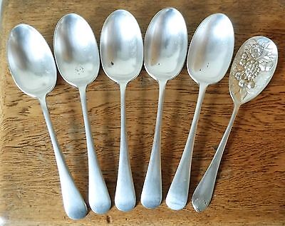 ANTIQUE 1900s SET 6 LOVELY Walker & Hall SHEFFIELD SILVER PLATED SERVING SPOONS
