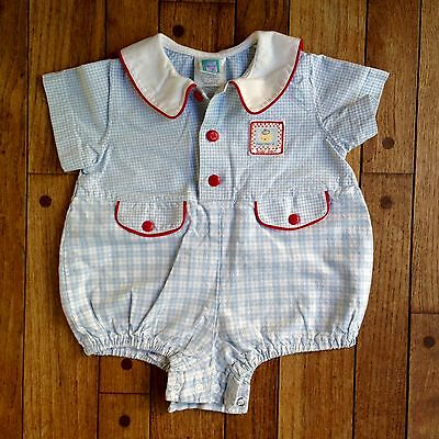 Vintage Little MC Blue & White Checked Baby Boy Summer Romper Size 9 Months