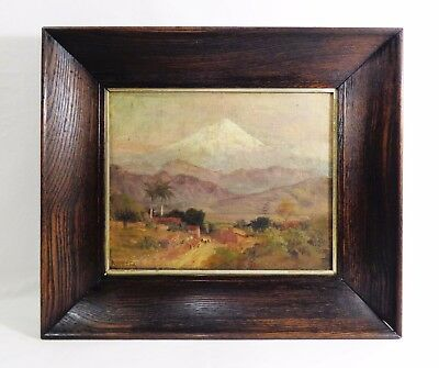 Late 19Th-Early 20Th C. O/b Framed Landscape Snow-Covered Peak, W/palms, Figures