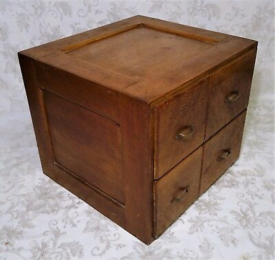 Large Vintage Oak Wood 4 Drawer File Filing Cabinet Document Box 15x17x18