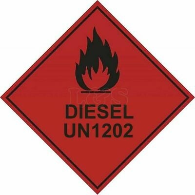 Diesel UN1202 Hazard Warning Diamond Label 100mm x 100mm - Self Adhesive
