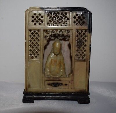 Vintage Chinese Carved Soapstone Bookend Ornament with Guanyin Bodhisattva