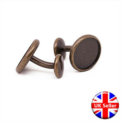 Premium Antique Bronze Cufflink Setting Blanks Fits 16mm Cabochon [2 pieces]