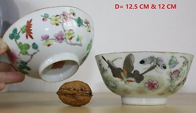 2 CHINESE porcelain BOWLS 19 th c. FAMILLE ROSE butterflies flowers 12 & 12.5 cm