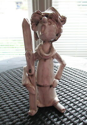Dino Bencini Skier Sculpture Figurine Signed Vintage Pottery Italy