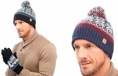 MENS FAIR ISLE Beanie Pom Pom Hat   Gloves Set a077208e21a