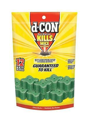 D-Con  Rat / Mouse Killer  box contains 12 refills (blocks)  and 1 Bait station