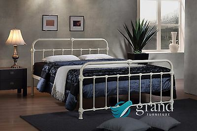 Mandy Double Metal Bed Frame Cream Hospital Style Small Double King Size Beds