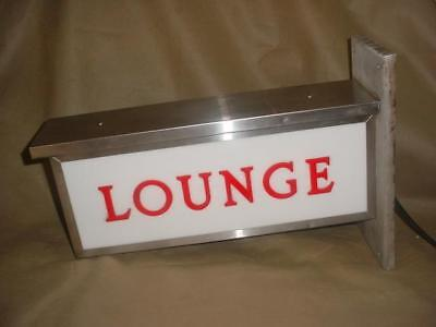 Vintage 1960's  Lighted Lounge Sign 2 Sided From Hotel Bar Stainless Works!