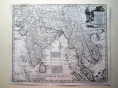India Thailand Ceylon  Cambodia Malaysia Bowen orig. antique map