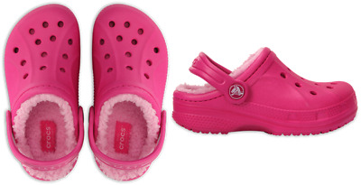 Crocs Kids Classic Fuzz Lined Clog. Classic Clog With Comfy, Warm Liner. Pink