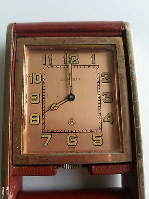 Vintage Art Deco Swiss Dunhill Folding Travel Clock Working Great