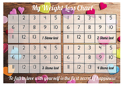 Weight Loss Chart - 4 stone - 1 Sheet of stickers - Coloured Hearts - Slimming
