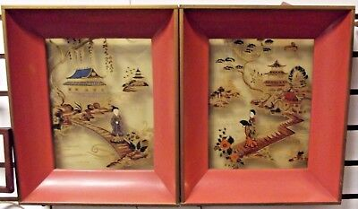 Vintage Oriental Metal Frame Lighted Shadow Box Printed Glass Formed Products Co