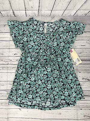 Cherokee Girls Floral Print Short Sleeve Blouse Size Extra Large 14/16 NWT