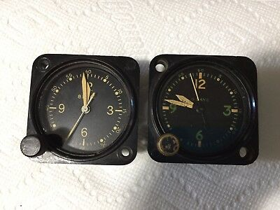 2 Vintage Military Surplus Waltham Watch Co. 8 Day Aircraft Air Force Clock