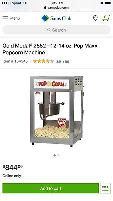 Gold Medal Pop Maxx 2552 12/14 Oz. Popcorn Popper Machine