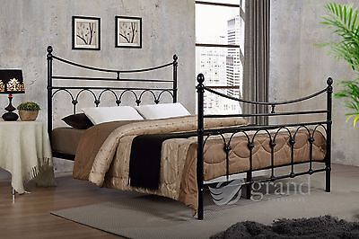 Atlanta Double Metal Bed Frame Black Victorian Style King Size Beds