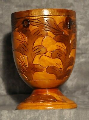 "Wooden Finely Hand-Carved Footed Cup Chalise 7.25"" High 28 oz."
