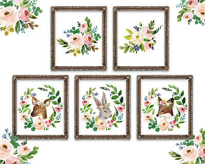Woodland Nursery Decor~Nursery Wall Art~Nursery Animal Art~Girl Boho Nursery Art