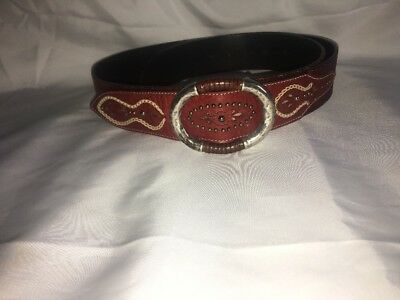 "BECKON Large leather belt Red 49.5 "".Genuine Leather"