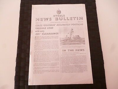 STEELS NEWS BULLETIN STEEL & Co SUNDERLAND COLES CRANE OCTOBER 1954 *AS PICTURES