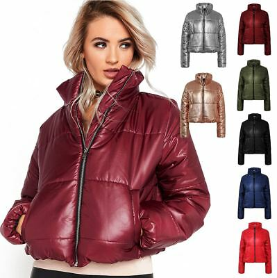 0ea38dd86 LADIES PUFFER CROP Bubble Metallic Foil Womens Padded Quilted Jacket Coat  Top