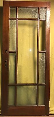 Antique 11 Pane Wood Interior French Door /w Diamond Frosted Glass & Hardware!