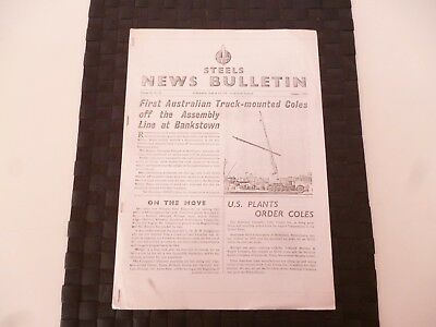 STEELS NEWS BULLETIN STEEL & Co SUNDERLAND COLES CRANES AUGUST 1955 *AS PICTURES