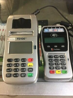 First Data Credit Card Terrminal FD100Ti with Pin Pad FD-35  and Power Supply
