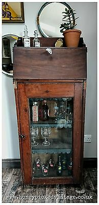 Antique Victorian bureau cocktail drink display cabinet bookcase cupboard larder