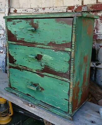 Vintage Industrial Pitch Pine Engineers Collectors Cabinet Drawers haberdashery