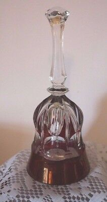 BEAUTIFUL GLASS BELL Highland Art Clear with Deep Red Band & Markins