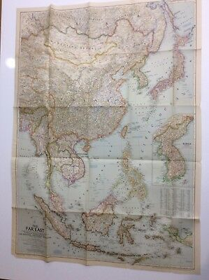 """1952 Vintage National Geographic Map of The Far East 29"""" X 40"""" Vol. CII No. 3"""