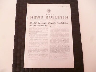STEELS NEWS BULLETIN STEEL & Co SUNDERLAND COLES CRANE JANUARY 1957 *AS PICTURES